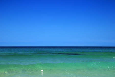 Blue clean sky and Emerald transparent Sea Water, Mangsang Beach, Donghae City, Korea