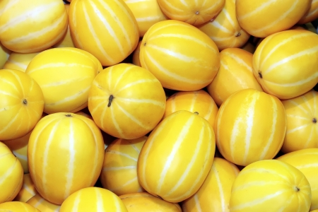 yellow or orange color oriental melons for sale, Seoul, Korea
