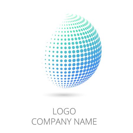 glazed: Logo design. Vector illustration. Circle shape halftone logotype for company Illustration