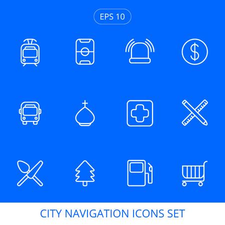 City navigation icons set. Tram, Bus, food, stadium, church, park, police, medical, fuel, modey, rub, school, shop.