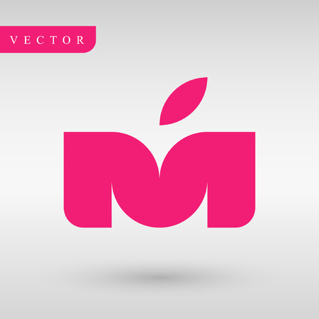 Logo design M letter and apple. Geometry professional logotype.identity lines. business logotype.