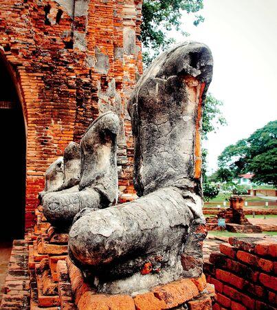 damaged: Buddha statue damaged