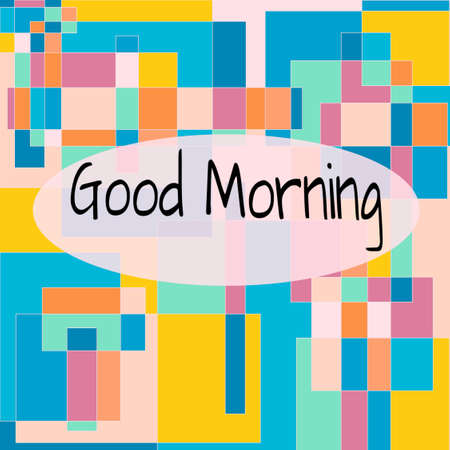 """Good Morning"" lettering on Colorful Quadrangles Background. Use for App, Postcards, Packaging, Items, Banner, Websites and Material-illustration. Zdjęcie Seryjne"