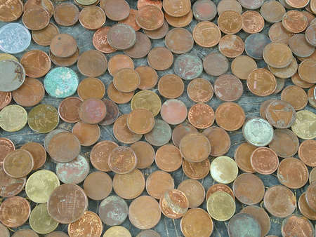 Many coins on floor of temple for lucky in Thailand, Finance concept. Money background 免版税图像