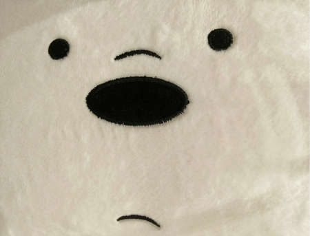 Close up view: Abstract puzzled face of a cute bear doll toy.