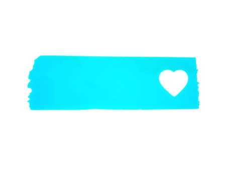 blue card with heart or Light blue gradient masking tape with white heart isolated on White Background-illustration