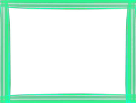 Shiny neon light green border frame isolated on white background with copy space. Special straight line design. Modern style decorative border -illustration. 스톡 콘텐츠