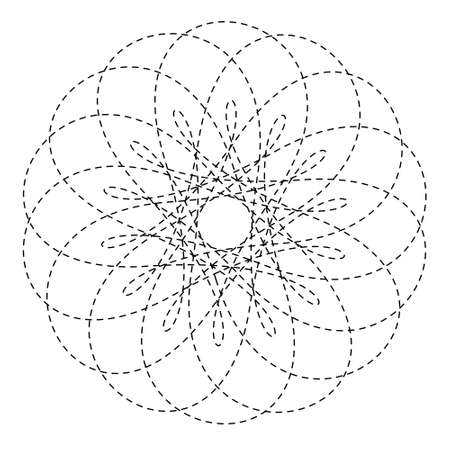 Flower dash black mandala/coloring isolated on white background. Abstract intricate geometric round element design outline/artwork-illustration.