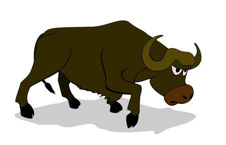 pastures: vector cartoon buffalo Illustration