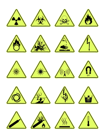 magnetic field: danger signs triangle Illustration