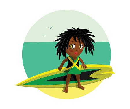dreadlocks: jamaica girl surf riding
