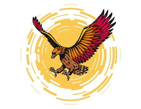 stylize: stylize vector eagle flying in the sun