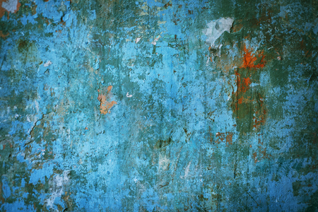 Multicolored concrete background blue old-fashioned scratched ruins