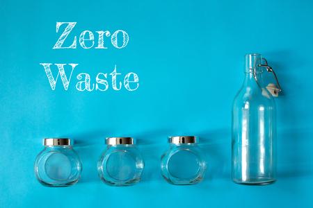 Four empty banks on blue background zero waste