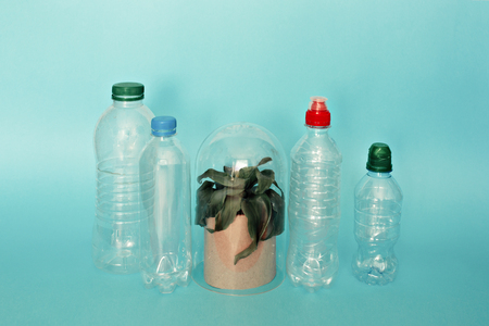 Collection of water bottles and plant enviroment protection Banco de Imagens