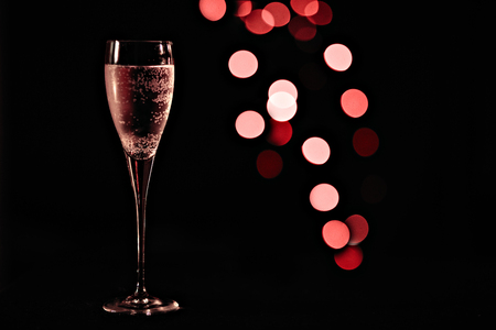 Pink champagne in the the glass New Year Christmas