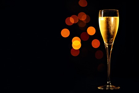 Champagne in the the glass New Year Christmas 스톡 콘텐츠