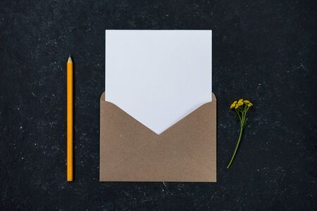Minimal composition with envelope with yellow flowers Reklamní fotografie