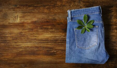 Blue jeans folded lie on a wooden table with a green leaf in your pocket