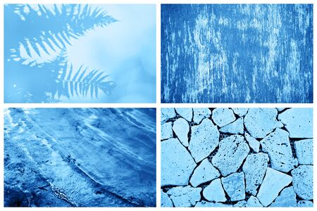 Creative collage inspired by blue color of the year 2020.