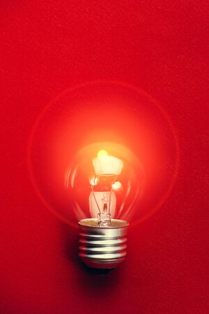 Light bulb on red background flat lay