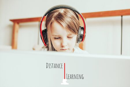 Online kid remote learning. Child studying from home. Homeschooling during quarantine and coronavirus outbreak, distance learning wording
