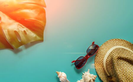 Sun hat glasses and shells with monstera