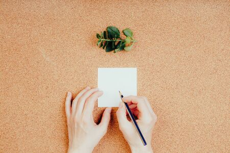 Woman writes note on a cork background, memo list for store Archivio Fotografico