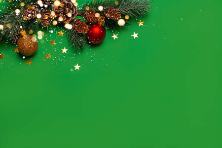 A New Year's background with New Year decorations on green background and lights