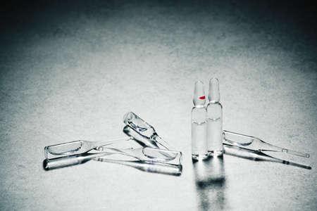 Medication in vials, vaccination medicine, treatment concept