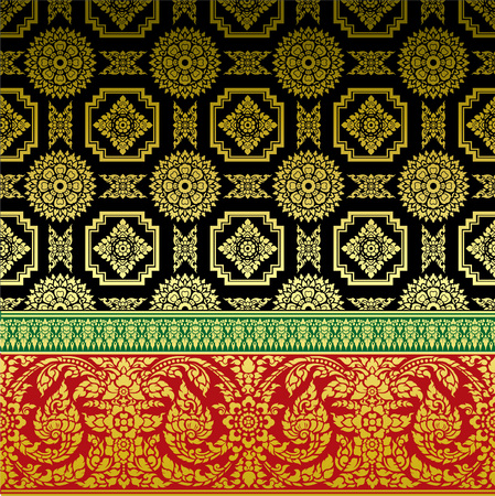 gold floral: Thai Ornament Background