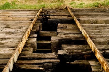 discontinuity: A bridge broken   split in half with holes between the bars