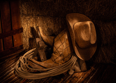 cowboy hat: Cowboy Gear in Hay Loft