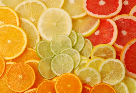 lowfat: Sliced citrus fruits Stock Photo