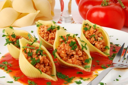 Pasta shells stuffed with meat  photo