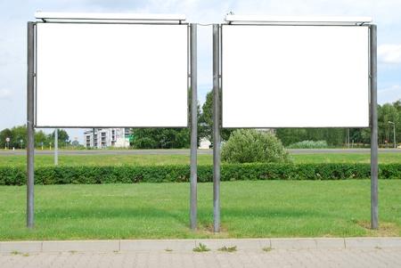a public notice: Blank billboards