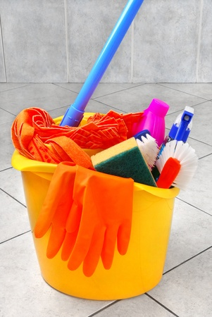 Bucket full of cleaning supplies Stock Photo - 10556493