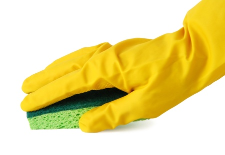Gloved hand with a green sponge Stock Photo - 10556013