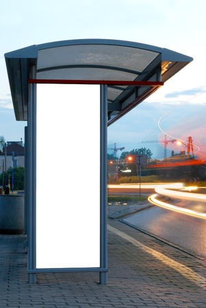 advertising board: Bus stop at night  Stock Photo