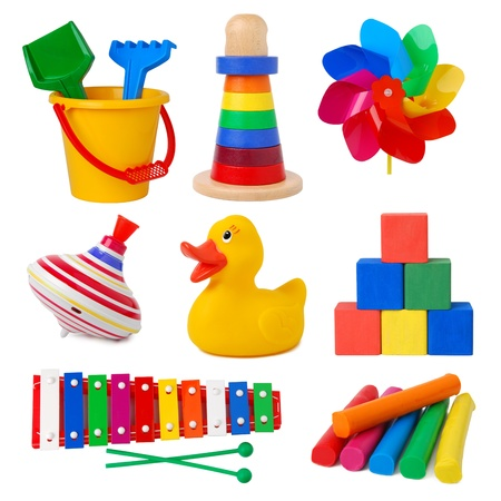 kindergarten toys: Toys isolated on white background  Stock Photo