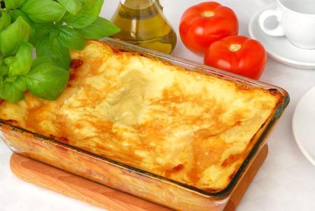 browned: Freshly baked lasagna