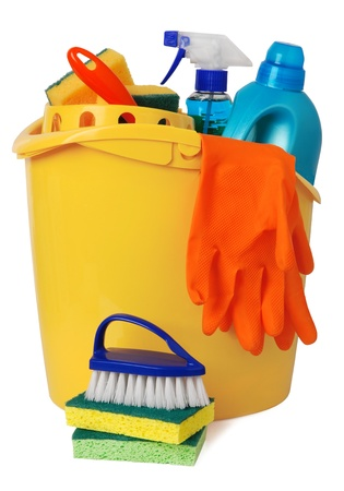 Bucket with cleaning supplies Stock Photo - 10571714