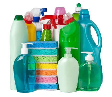 Various bottles with cleaning supplies Stock Photo - 10571715