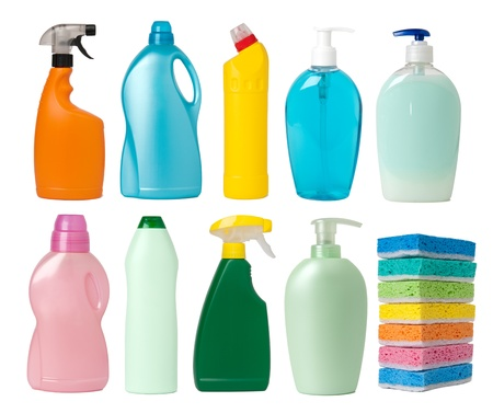 cleaning supplies: Cleaning supplies containers Stock Photo