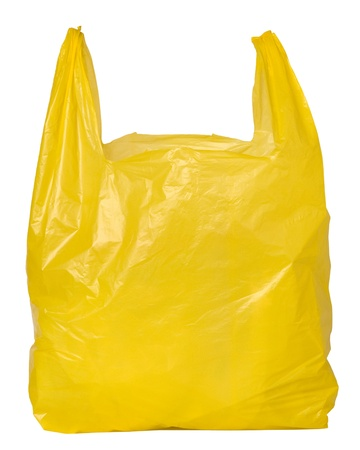 plastic: Yellow plastic bag Stock Photo