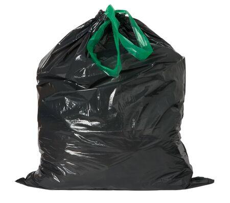 Black rubbish bag isolated on white background photo