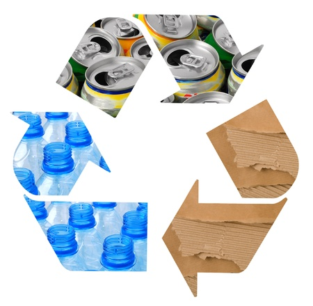 reciclaje de papel: Símbolo de reciclaje  Foto de archivo