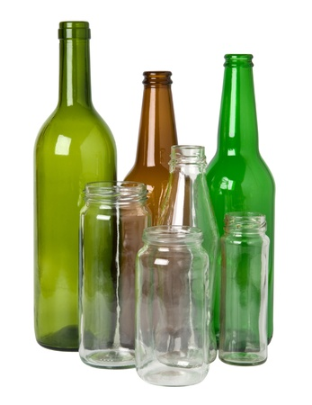 glass containers: Glass bottles prepared for recycling