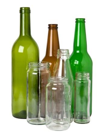 bocaux en verre: Les bouteilles en verre pr�par�es pour le recyclage Banque d'images