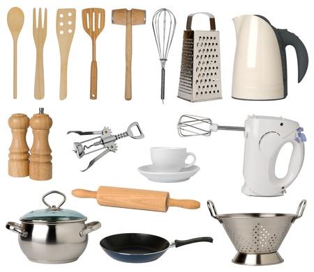 steel pan: Utensilios de cocina aisladas sobre fondo blanco Foto de archivo